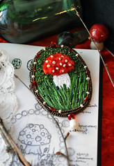 Amanita Muscaria embroidered Brooch (ultrapacifist) Tags: mushroom embroidery brooch amanitamuscaria embroidered flyagaric byalexandrared
