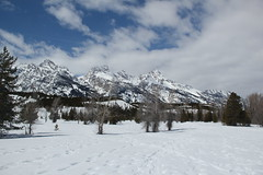 Grand Tetons in the background (Aggiewelshes) Tags: travel winter snow april snowshoeing wyoming jacksonhole grandtetonnationalpark 2016 gtnp taggartlaketrail