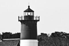 Nauset Light (brucetopher) Tags: ocean light sea blackandwhite bw lighthouse white black beach monochrome blackwhite surf waves wind nautical navigation sentinel