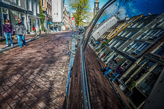 Street reflections @ Amsterdam (PaulHoo) Tags: street city sky urban holland reflection window netherlands car amsterdam lumix pavement candid perspective citylife