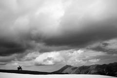 True Adventure (Francesco Chiapperini) Tags: sky blackandwhite snow true clouds honda nuvole powershot adventure cielo neve moto dominator avventura canond10 motoalpinismo