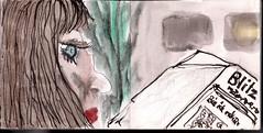 die Alten hatten das Haus warm sanieren wollen. Sie hatte es in der Zeitung gelesen. Der Kellner hatte Cappuccino und Prosecco gebracht (raumoberbayern) Tags: summer bus pencil subway munich mnchen sketch drawing sommer tram sketchbook heat ubahn draw bleistift robbbilder skizzenbuch zeichung