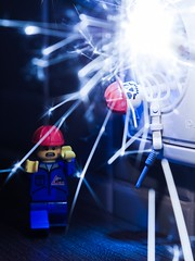 CAUTION Risk of Electric Shock (grzegorz.s) Tags: toy lego fireworks olympus electricity shock minifig sparks 45mm electrician