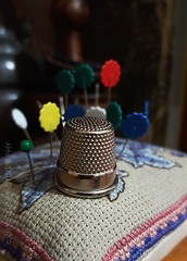 Thimble. (365#11) (Manic Joto Foto) Tags: blue red white green metal metallic steel 11 pins fabric thimble 365 needles cushion mobilephotography phoneography phoneyeproject samsungs6