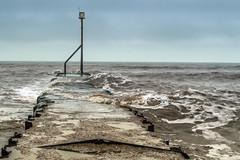 A Pier and a Marker (stevedewey2000) Tags: seascape pier seaside nikon devon m42 marker groyne v1 sidmouth eastdevon sigma28mmminiwide nikon1v2