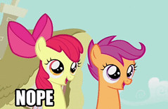 Nope GIF - Find & Share on GIPHY (messiole) Tags: apple is friendship little magic pony bloom mlp nope scootaloo ifttt mlpfim giphy