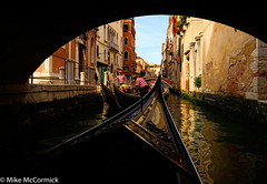 Under the Bridge (no_bunting) Tags: venice italy reflection water canal europe gondola gondolier