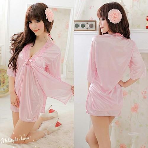 Jual Baju Tidur Wanita Pink With Lace Babydoll Outer Lingerie Wupk Hanya Rp