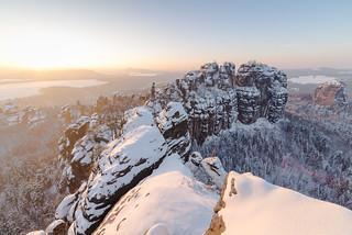Winter Golden Hour at Schrammsteinaussicht