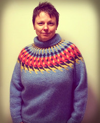Antipodal (AnnieKM) Tags: blue red yellow sweater aran knitty lopi icelandicwool antipodal