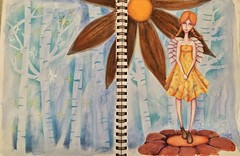 A mix media in my journal (da's art) Tags: trees abstract flower drawing mixedmedia journal gouache coloredpencils watercolorpencils fantasygirl neocolorii traditionalmedia inktense