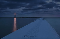Spirit of Wing - Frankford Lighthouse Michigan (fengpeng63) Tags: bridge sunset lighthouse lake water clouds