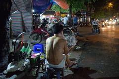Sweltering Streets of Hanoi (VeryBusyPeople) Tags: street hot streets tattoo night photography fan cigarette smoke streetphotography smoking vietnam sidewalk hanoi humid vn hànội