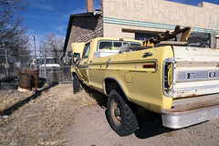 Trashed Fords In Ash Fork (Curtis Gregory Perry) Tags: old arizona ford yellow truck 1974 nikon rusty pickup 1975 vehicle 1978 1977 1973 1976 ashfork d800e