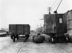 Liverpool North Mersey Goods Dept. (L&Y) 24 10 1919 - Overhead crane & LB&SCR wagon. (White Pass1) Tags: liverpool liverpooldocks wagon track barrels ly railwaycrane northmerseygoodsdepot bootyledocks