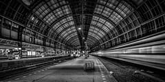 Excess Baggage (Acero666) Tags: city blackandwhite bw station amsterdam composite train rail railway c6 darkart 2016 arcanum a7r ilce7r sel1635