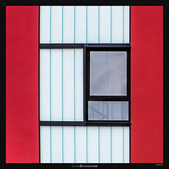 Hidden Staircase (Ilan Shacham) Tags: red abstract building architecture square spain graphic geometry fineart symmetry minimalism vitoria fineartphotography vitoriagasteiz