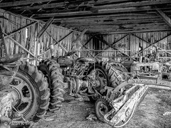 20160226-_R006332 (Aaron K. English) Tags: old blackandwhite tractor abandoned monochrome barn rural historic agriculture ricoh ricohgr blackenedwhite