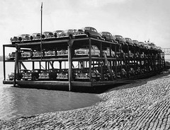 a boatload of '49s (blue65pv544) Tags: bw ford boat ship barge 1950 flathead 1949 shoebox 1951