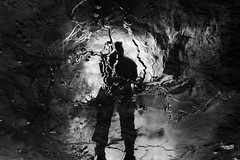Reflets et concrtions (flallier) Tags: blackandwhite bw water silhouette reflections underground eau mine noiretblanc nb mining reflet reflect reflexions schistes concrtions bitumineux