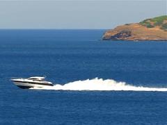 speedboat off the coast near Batsi IMG_1017 (mygreecetravelblog) Tags: sea island boat outdoor speedboat greece greekislands andros cyclades batsi aegeansea cycladesislands androsgreece androsisland batsiandros