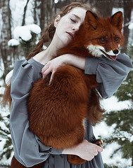 Polly & Alice (alexandra_bochkareva) Tags: portrait cute art girl face female fur fire ginger place sensual fairy fox serene freckles feelings freckled sense girlish