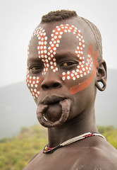 Mursi (Rod Waddington) Tags: africa portrait people woman face female beads outdoor african painted traditional tribal afrika omovalley ethiopia tribe ethnic mago mursi scarification afrique ethiopian omo etiopia ethiopie omoriver