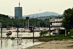 Belgrade Landmarks (mardukkk) Tags: skyscraper river landscape ship serbia belgrade beograd danube srbija usce dunav