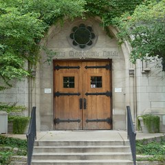 River Forest, IL, Dominican University, Memorial Hall Entrance (Mary Warren (6.7+ Million Views)) Tags: door building college architecture stairs arch gothic entrance portal railing dominicanuniversity riverforestil