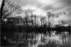 Cold Reflections (andihun65) Tags: blackandwhite water mono kent fishing lakes relfections leybourne bw110 canon60d 10stopfilter canon1585mmis