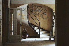 2014 (Laurene Smith) Tags: people brown selfportrait building texture abandoned yellow architecture composition arch staircase faceless