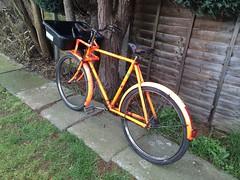 Pashley delivery bike. (sprocket316) Tags: orange bp vintagebike vintagebicycle workbike pashley deliverybike transportbike butchersbike carrierbike rodbrakes tradebike vanschothorst pashleyworkbike