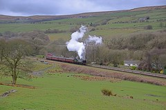West Country Bulleid Pacific Loco 'City of Wells' approaches Irwell Vale, with the last train of the day to Rawtenstall, on the East Lancs Railway. 27 03 2016 (pnb511) Tags: green station train countryside track loco steam hills locomotive landrover elr landie eastlancsrailway