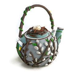 Springtime pussywillow teapot (higirlsdesigns) Tags: clay teapot pussywillow polymer pcagoe