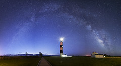 The Blue Hour (santosh_shanmuga) Tags: blue light wild sky panorama lighthouse nature night way landscape island dawn star nc nikon outdoor pano north northcarolina hour carolina vista bodie dare outer milky starry banks obx 14mm d3s