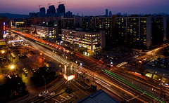 City Never Sleeps (TigerPal) Tags: street longexposure blue sunset bus rooftop station night long exposure view dusk korea hour seoul intersection lighttrails bluehour expressbusterminal