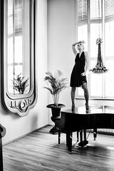 Don't stand on the piano (martin wilmsen) Tags: blackandwhite woman stockings monochrome amsterdam 35mm mono mirror model nikon shoot dress piano location sensual bnw hss lloydhotel elichrom deepocta silverefex
