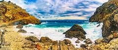 Mali Bok: From the Boat Ramp (Falcdragon) Tags: blue sea sky panorama seascape colour beach rock stone landscape waves cove croatia hidden breaking minoltaaf28mmf28 ilce7 croatia7 sonya7alpha