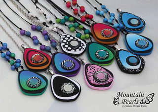 Polymer clay necklaces, Spring colours