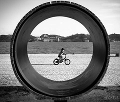 VroomVroom (gheckels) Tags: street family urban monochrome bicycle kids speed 35mm circle fun blackwhite europe play ride lisboa lisbon candid sunday streetphotography minimalist vroom carlzeiss kidsportrait sonyimages sonya7rii