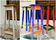 Banquetas de madeira (Nara Stella) Tags: design casa arte bancos interiores decorao madeira depois antes pintura mveis banqueta antesedepois transformao banquetas narastella
