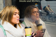 Week 14/52-2016 by PhotoWalk Dublin  Theme - Smoke- Mirrors - DSC_0222-Edit (John Hickey - fotosbyjohnh) Tags: ireland dublin woman lady female person mirror meetup smoke smoking photowalk april smoker 2016 52weeks april2016 52weeksphotowalkproject