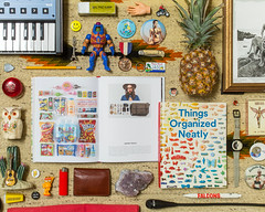 Things Organized Neatly Book (J Trav) Tags: persona book swatch nirvana pineapple owl snacks whatsinyourbag universe garfield smurfs yoyo 90s harmonica heman inutero mininova theitemswecarry showusthecontentsofyourbag thingsorganizedneatly knolling alwaysbeknolling 90ssnacks