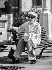 ... rhapsody in white ... ( ... winter in spring ... ) (Fede Falces ( ...... )) Tags: old winter portrait people blackandwhite bw woman vintage spring cool dof bright noiretblanc candid style sunny olympus streetphoto 28 depth timeless elegance