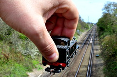 Childhood Memories (my_LittleDuck) Tags: trees train model track hand railway forcedperspective week16 52in2016