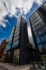 Quarter Mile Development-10 (Philip Gillespie) Tags: street city blue windows sky sun white reflection tower glass up skyline architecture clouds contrast work buildings outside photography scotland office spring edinburgh cityscape angle outdoor wide meadows april series block leading 2016 sequent