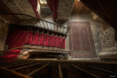 The Red Stair (State of Decay) Tags: old red abandoned architecture stairs pov decay exploring forgotten dust chateau rood deserted oud trap hdr urbanexploring ue urbex vergeten verlaten vervallen stof leegstaand stateofdecay diamondclassphotographer flickrdiamond