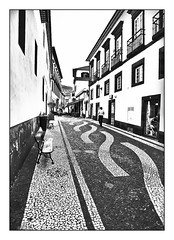 The streets of Funchal (kurtwolf303) Tags: city bw portugal buildings europe 500v20f patterns streetphotography stadt sw madeira gebude muster 800views funchal omd 250v10f monochromefineart unlimitedphotos strasenfotografie micro43 microfourthirds olympusem1 kurtwolf303