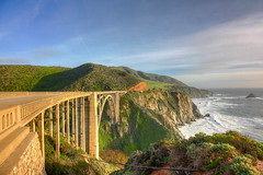 Riding the Rails (KC Mike D.) Tags: ocean california road bridge light sunset shadow green water coast highway waves central bigsur hills pch coastal