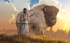 White Buffalo Calf Woman (deskridge) Tags: west buffalo spirit indian totem tribal nativeamerican western navajo tribe spiritual bison firstnation wildwest frontier hopi americanindian pocohontas remington squaw sioux lakota spiritguide indianart nativeamericanart northamerican comanche nezperce whitebuffalo naturespirit americanbuffalo eskridge westernart whitebison nativeamericanwoman bisonart buffaloart whitebuffalocalfwoman westernindian femalenativeamerican courydalene buffalothemed bisonthemed chargingbison danieleskridge
